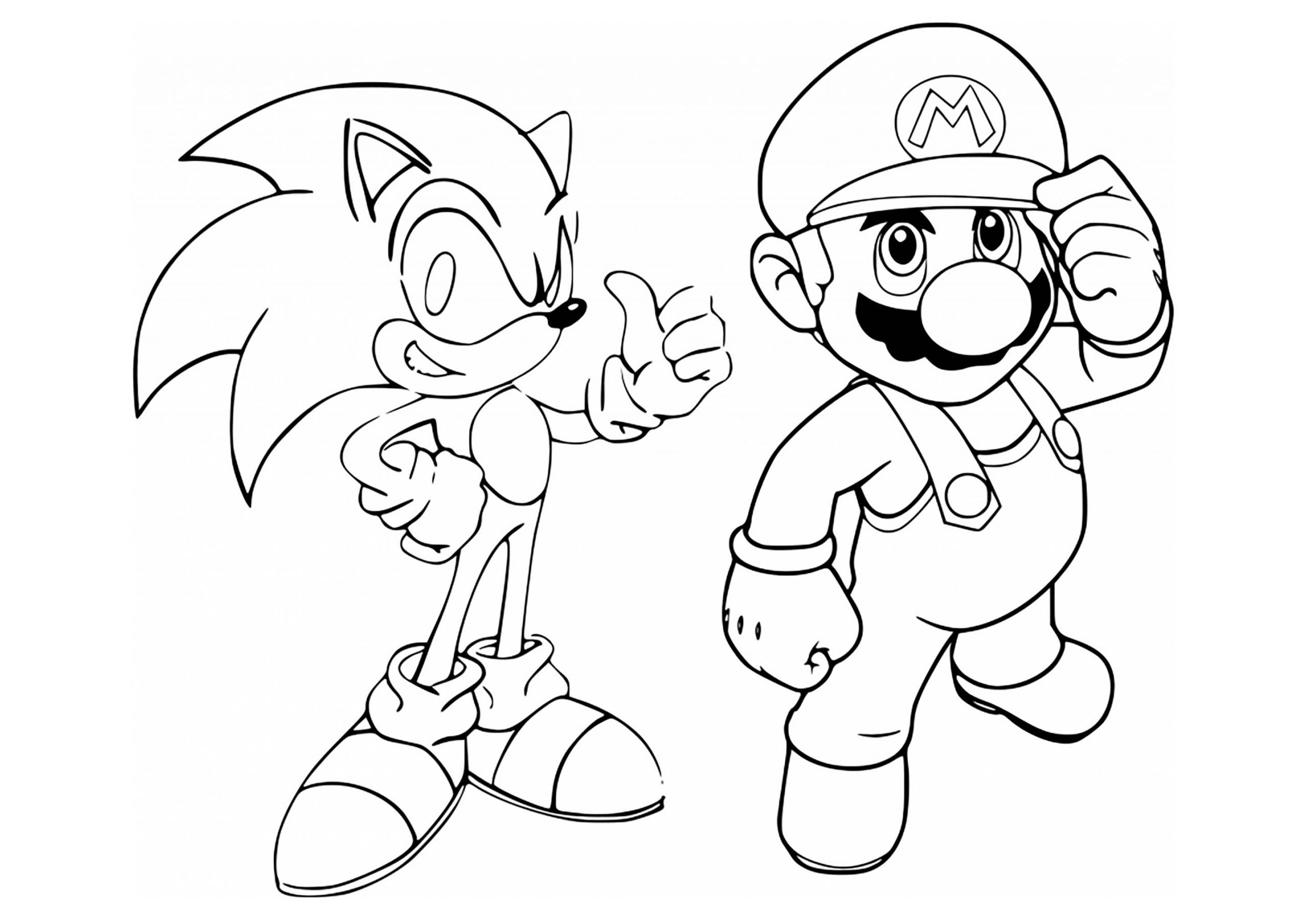 Mario and Sonic Hedgehog Coloring Page