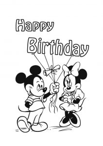 Minnie Mouse Happy Birthday Coloring Pages Mickey Mouse Celebrating Her Birthday with Balloons