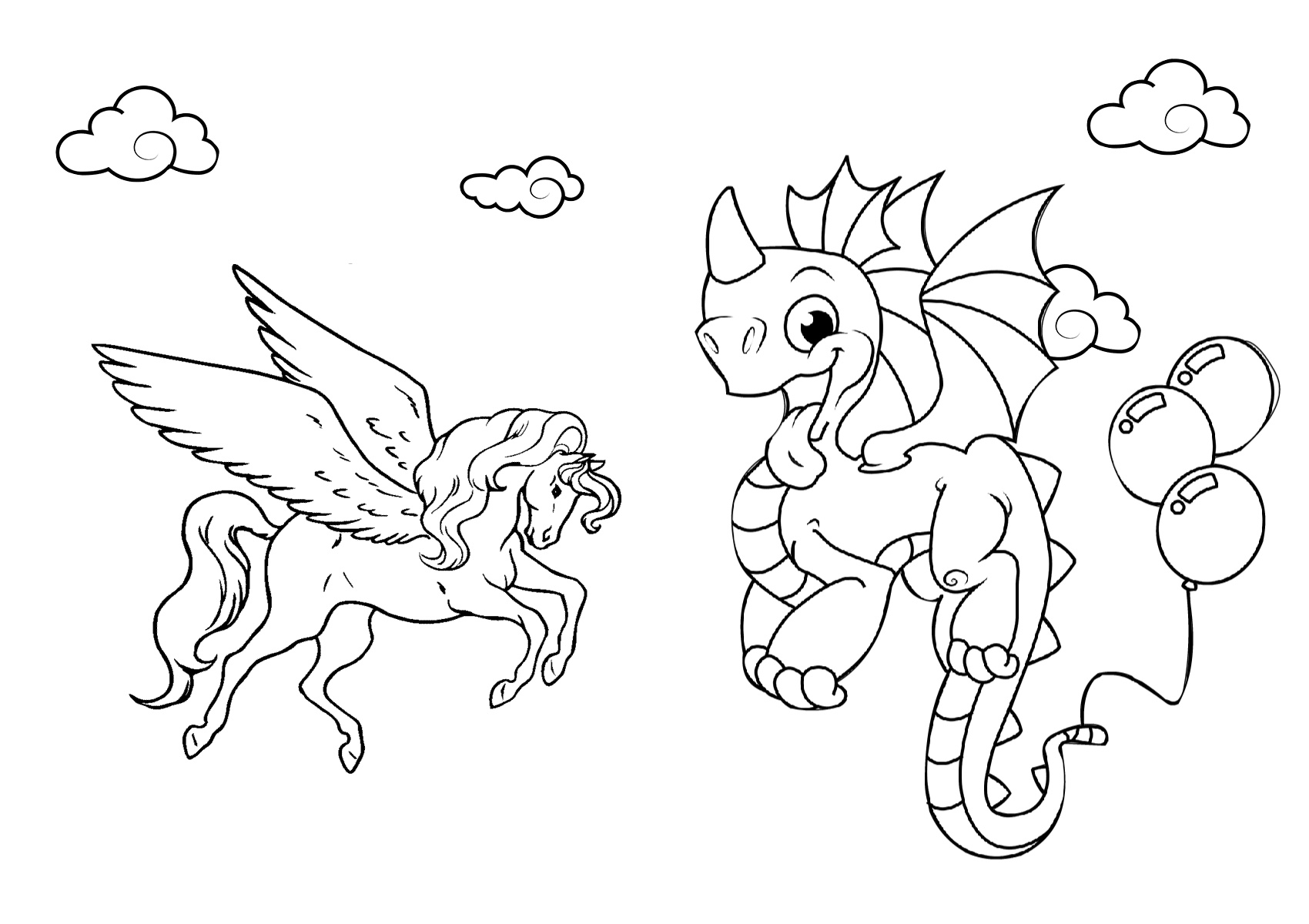 Pegasus and Dragon Coloring Pages - Print Color Craft