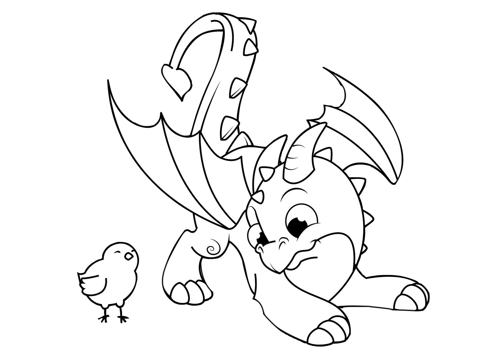 Playful Little Dragon Playing with Chicken Dragon Coloring Pages for Kids