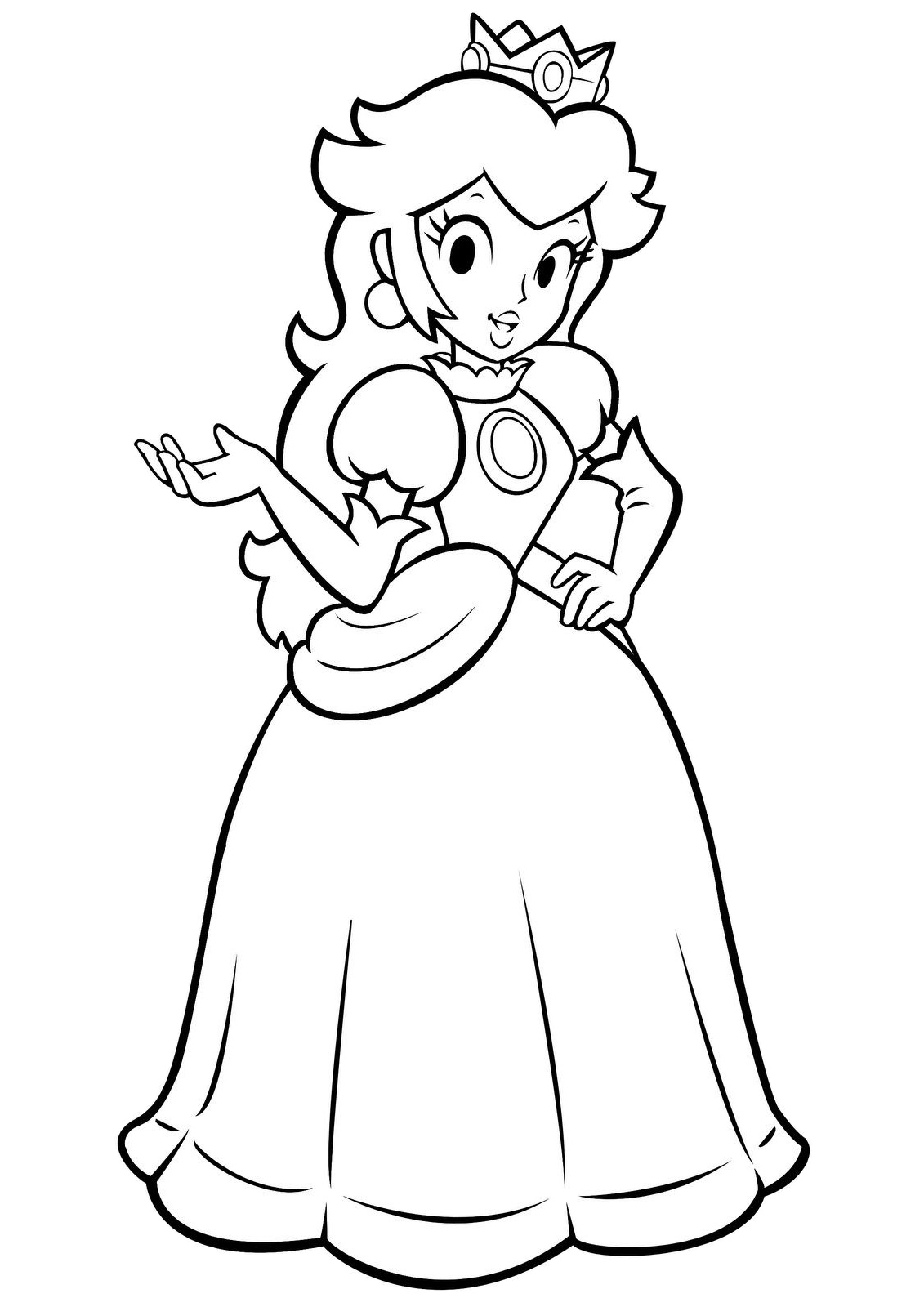 Princess Peach Mario Coloring Pages Peach Hand Gesture with Her Ballgown Dress and Crown