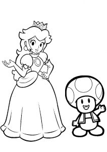 Princess Peach Mario Toad Mushroom Head Coloring Pages for Girls