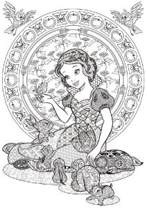 Princess Snow White with Animals Beautiful Disney Adult Coloring Pages