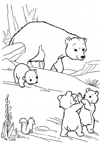 Printable Coloring Page of Mommy and Baby Bears