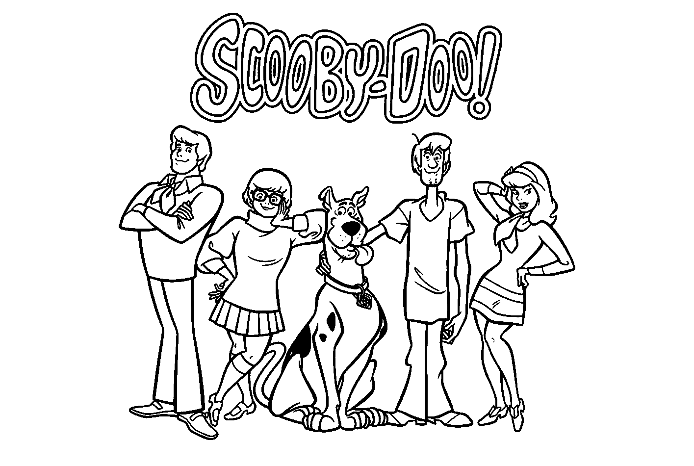 Printable Coloring Page of Scoby Doo Team Fred Velma Scooby Shaggy Daphne