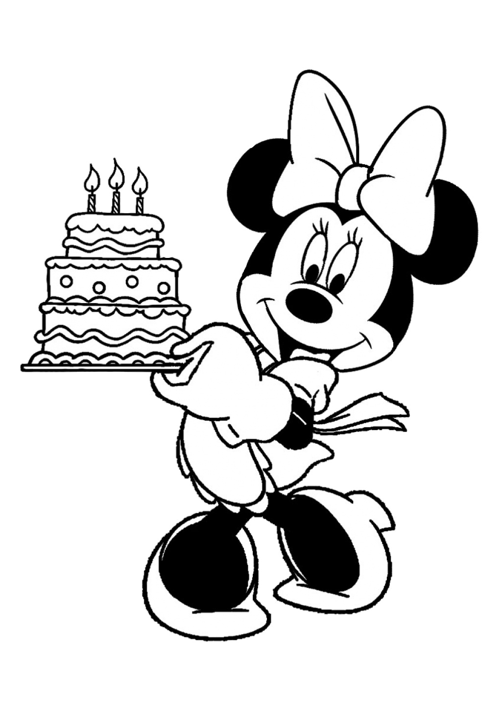 Printable Minnie Mouse Coloring Pages Minnie Mouse Holding a 3 Stack Birthday Cake