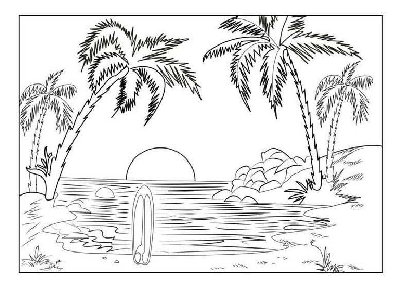 Realistic Beach Coloring Pages Print Color Craft