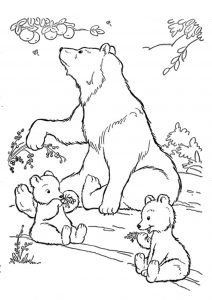 Realistic Looking Mommy Bear with Cubs Coloring Pages