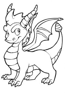 Sarcastic Look Dragon with Huge Horns Coloring Pages