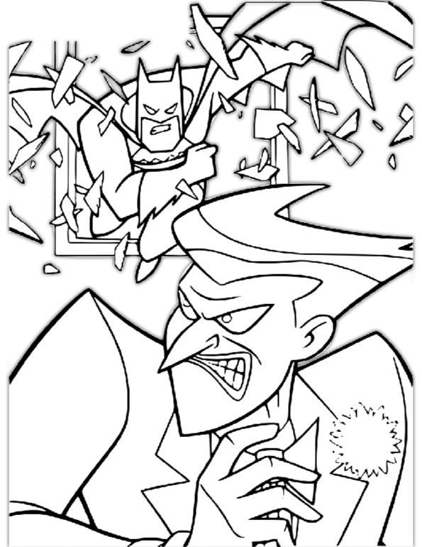Superhero Batman and Evil Joker Coloring Pages