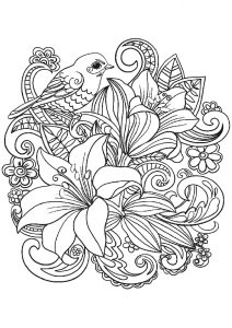 The Best Flower Adult Coloring Pages Flower Bouquet with a Cute Bird