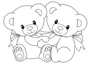 Two Cute Teddy Bear Coloring Pages