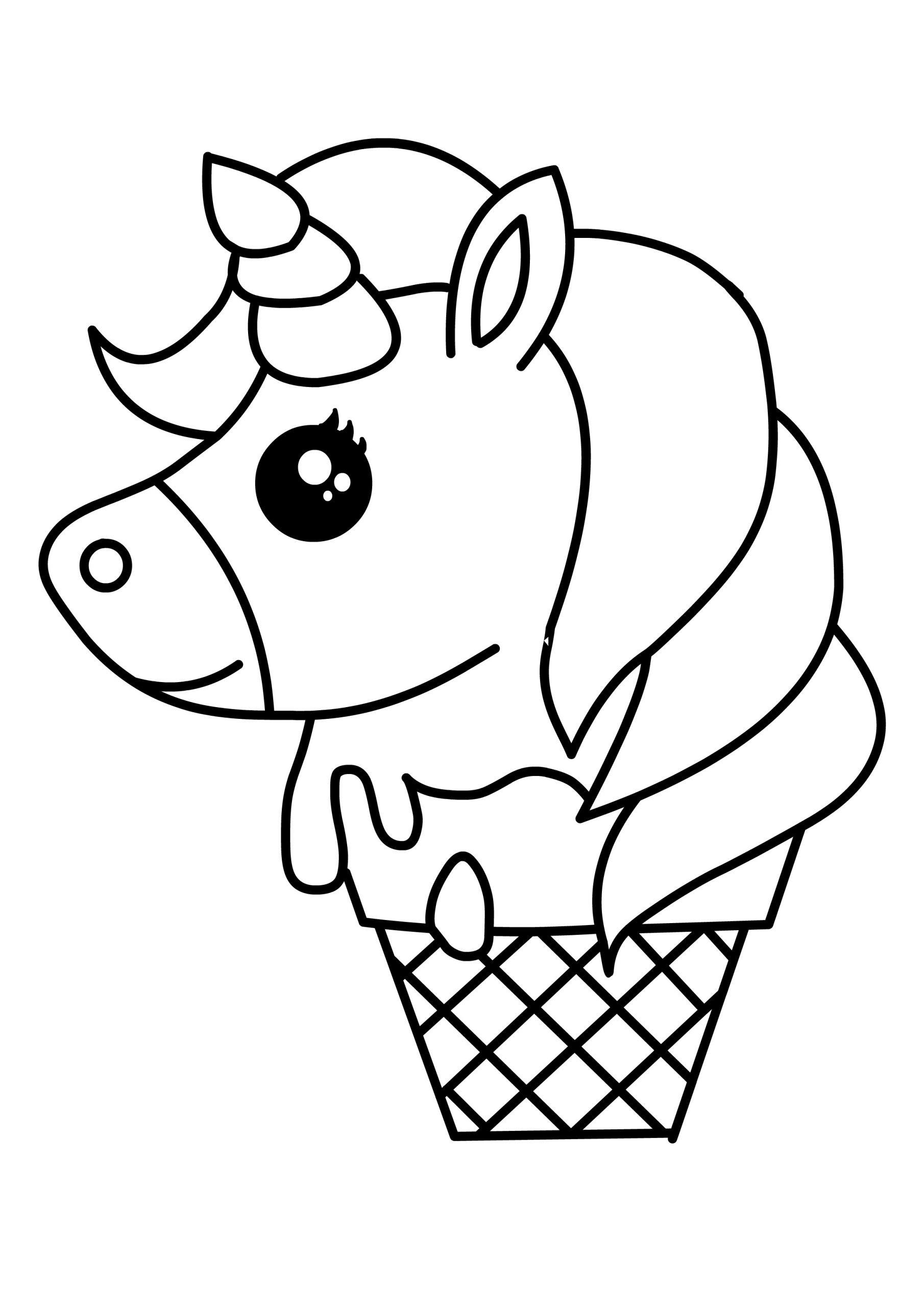 Unicorn Ice Cream Kawaii Food Cute Coloring Pages
