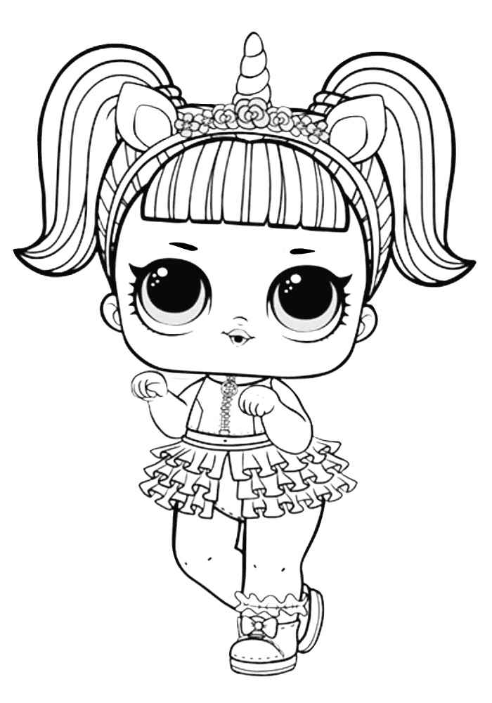 Unicorn Like LOL Doll Coloring Pages Print Color Craft