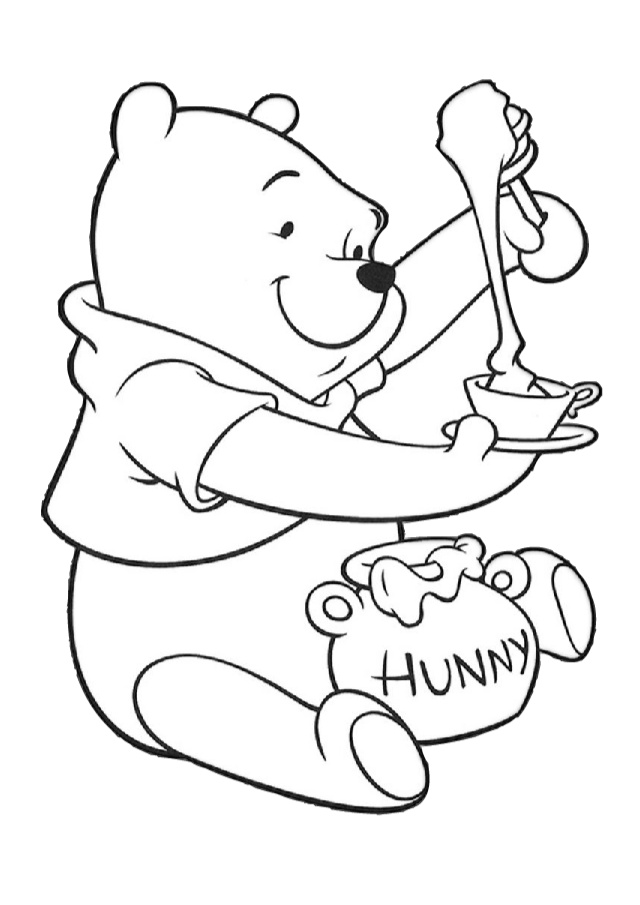 Winnie the Pooh Bear with Hunny Coloring Pages