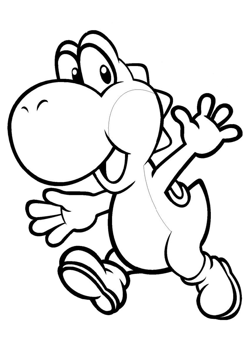 Yoshi Mario Coloring Pages Yoshi Green White Cartoon Dinosaur Waving Hi