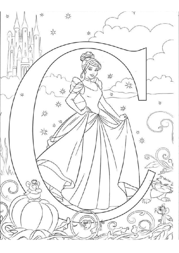Alphabet C Princess Cinderella Disney Coloring Pages