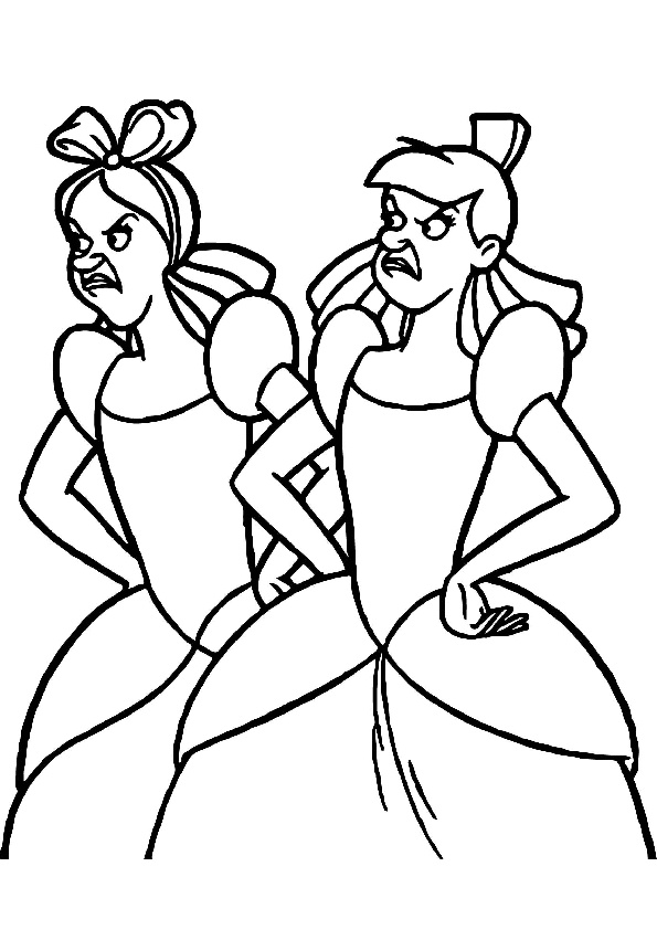 Anastasia Cinderella Step Mom Daughters Coloring Page