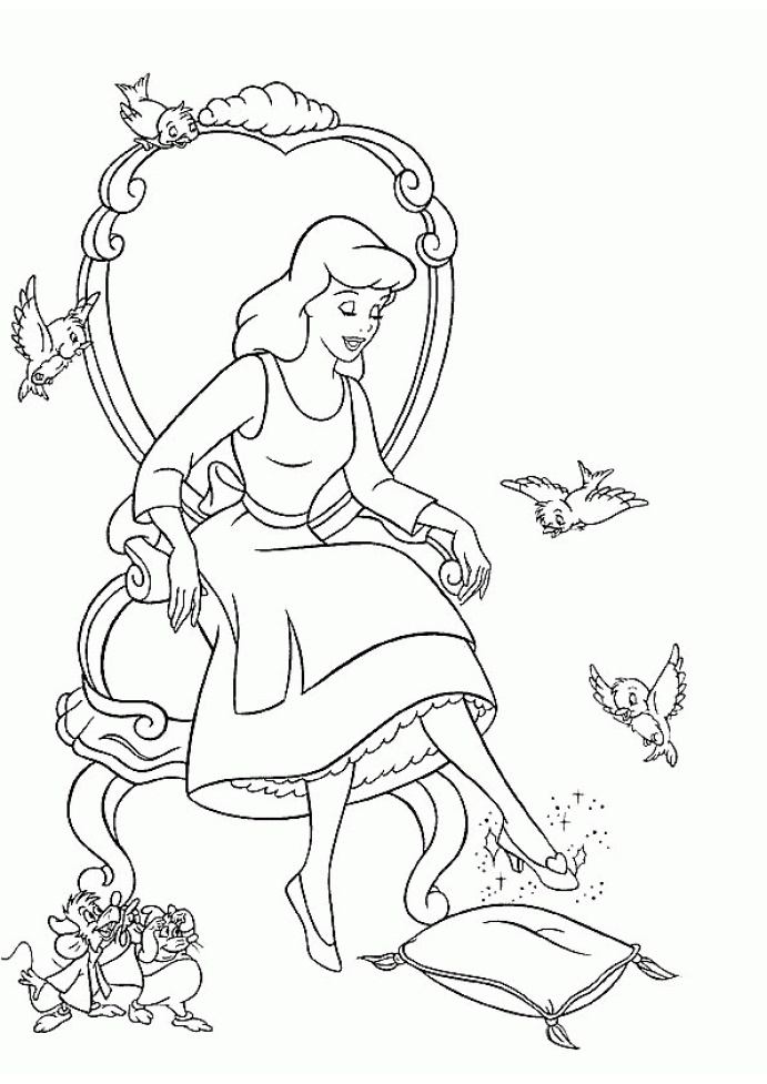 Birds and Mouse Getting Cinderella Ready for the Party with Prince Charming Cinderella Coloring Pages