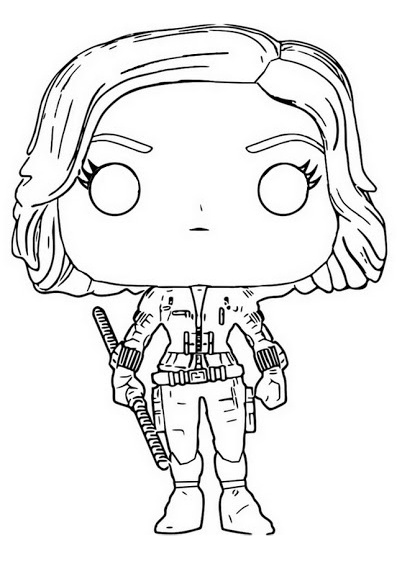 Black Widow Chibi Avengers Character Coloring Pages