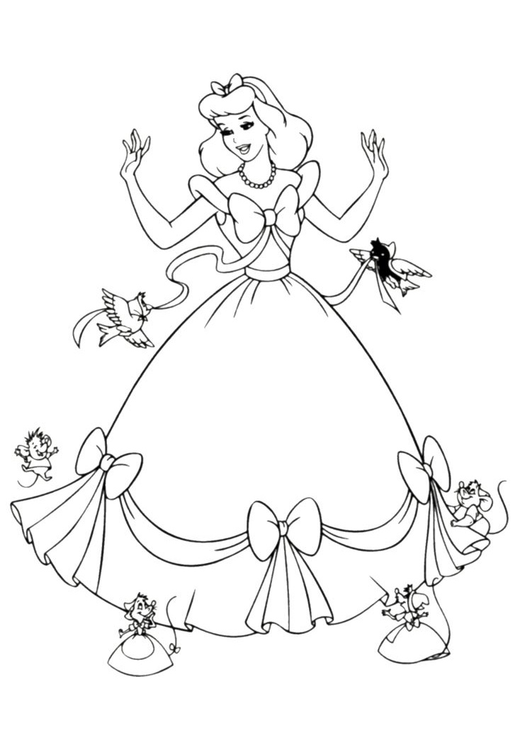 Cinderella Coloring Pages Getting Dressed with her Animal Friends Help