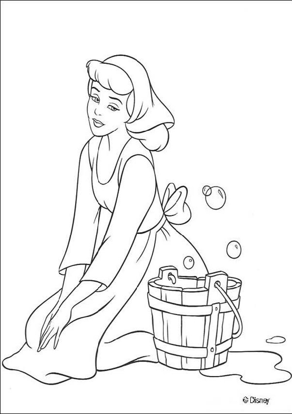Coloring Pages of Cinderella Doing House Chores Cleaning Washing