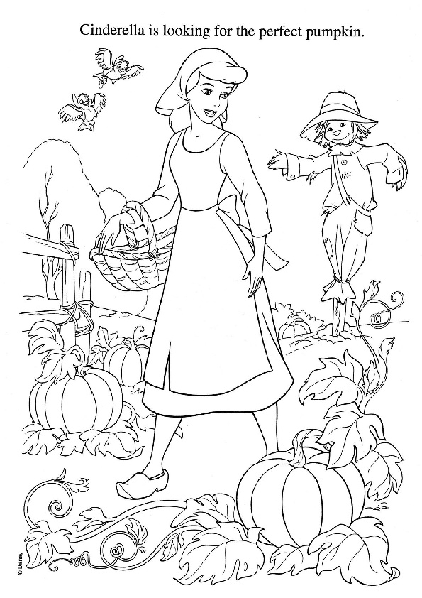 Coloring Pages of Cinderella Searching For a Perfect Pumpkin Her Garden