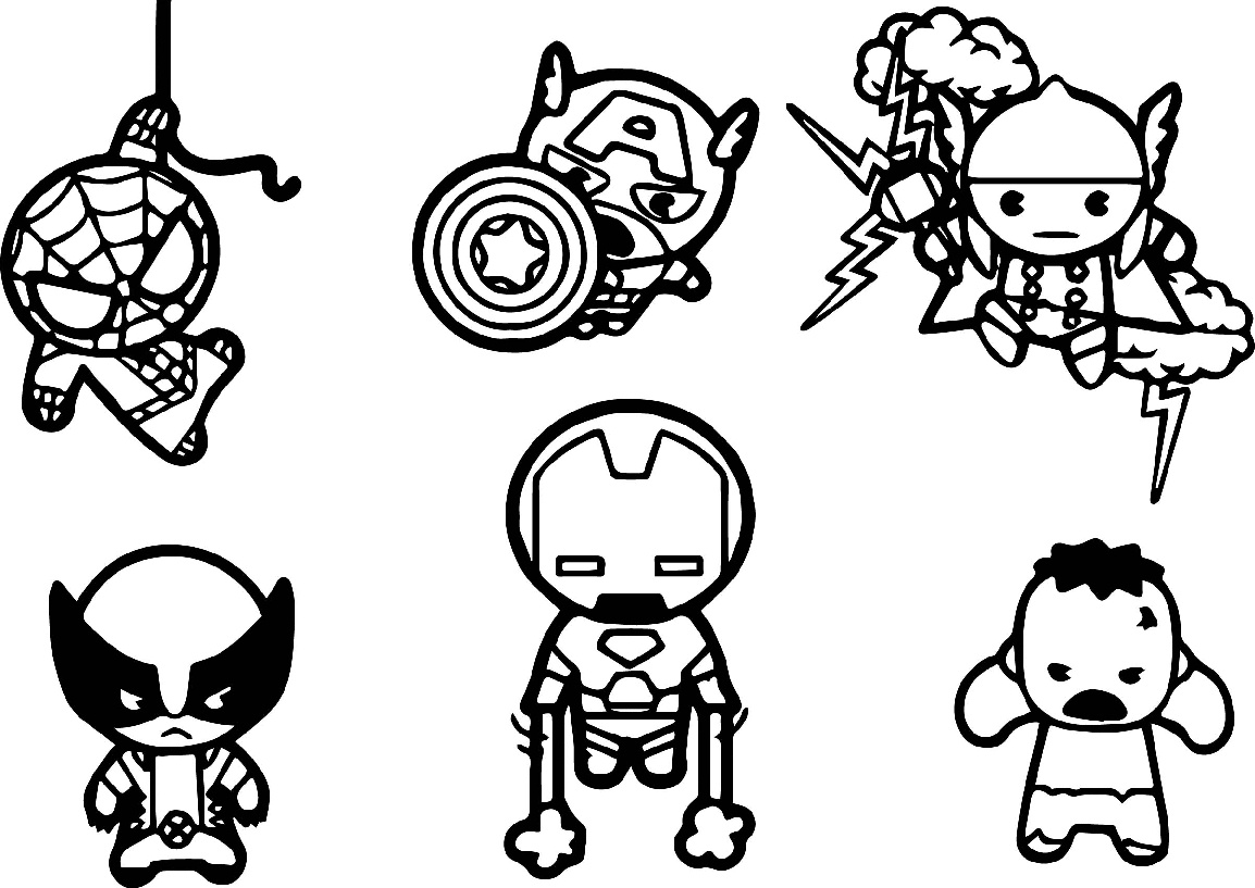 Cute Avengers Chibi Characters Coloring Pages