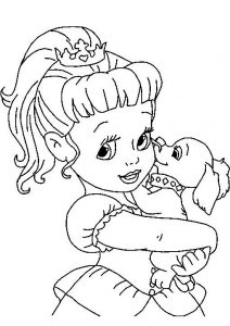 Cute Looking Baby Cinderella with Her Pet Printable Coloring Pages