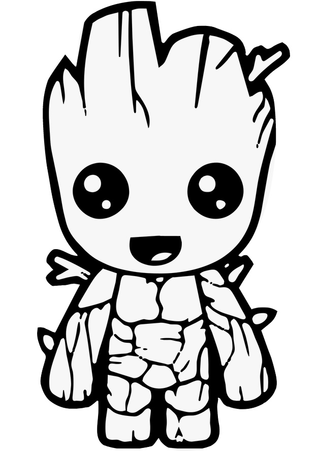 Cute Looking Groot Avengers Coloring Pages