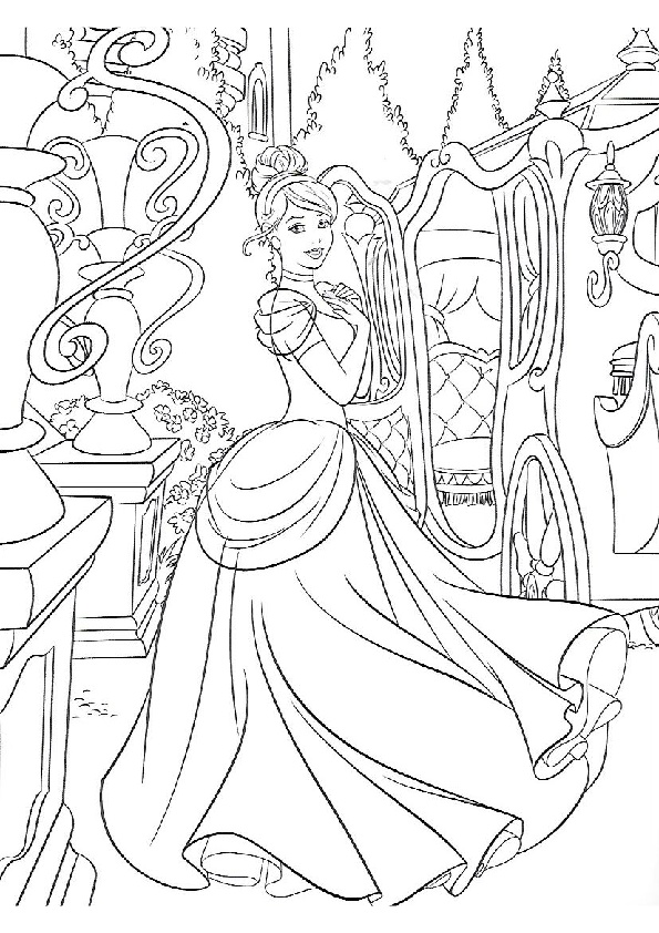 Detailed Hard to Color Cinderella Coloring Pages for Adults Stress Relief Therapy