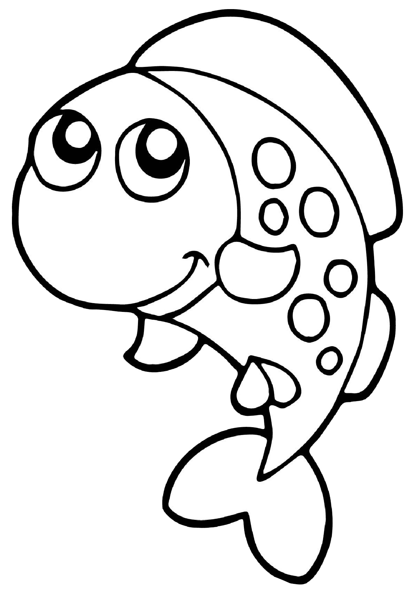 Easy to Draw and Color Fish Coloring Pages for Preschool Toddlers - Print  Color Craft