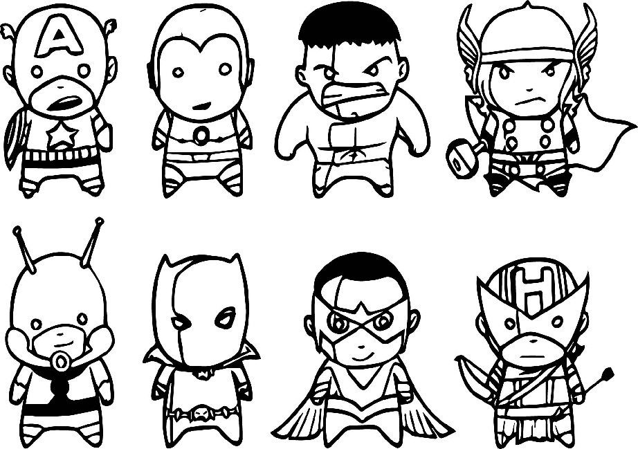 Extra Cute looking Avengers All Characters Baby Avengers Team Coloring Pages
