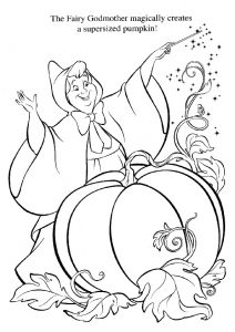 Fairy Godmother Turns a Huge Pumpkin into a Royal Chariot for Cinderella Printable Coloring Pages