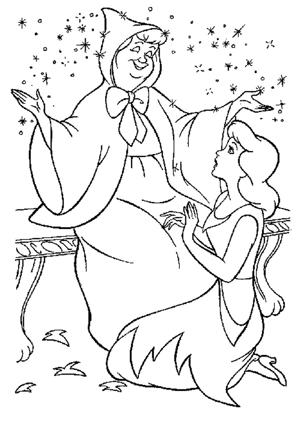 Fairy Godmother and Cinderella Coloring Pages