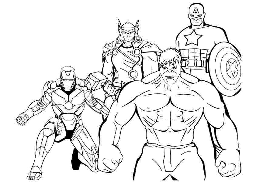 First Avengers Hulk Captain America Ironman Thor Coloring Pages
