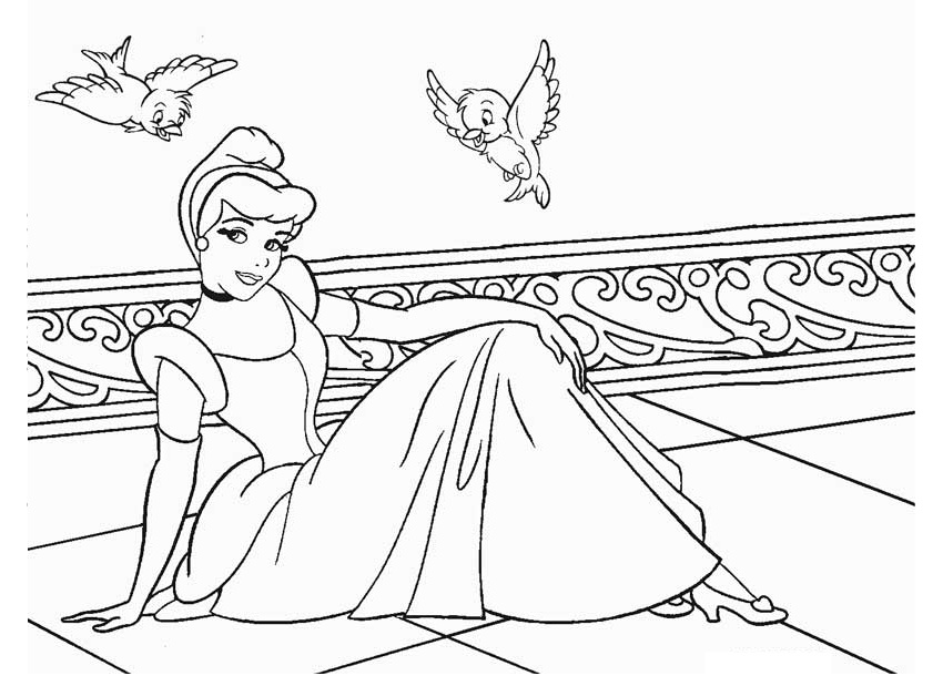 Gorgeous Looking Princess Cinderella Coloring Pages