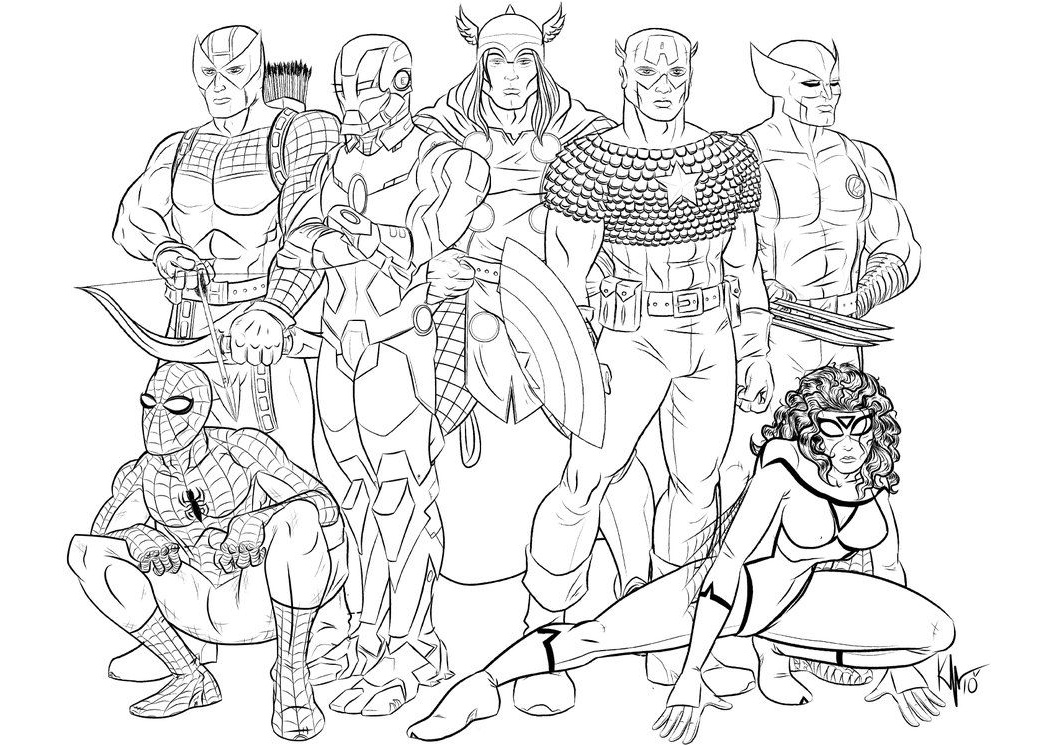 Marvel Comics Avengers Coloring Pages with wolverine Black Widow and Iron Man