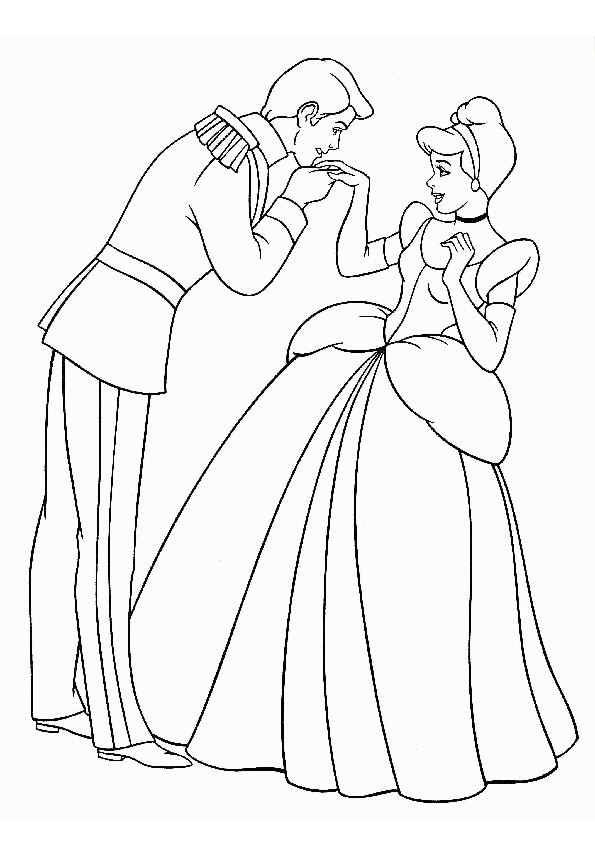 Prince Charming and Cinderella Dancing Together at the Party Night Print Color Pages