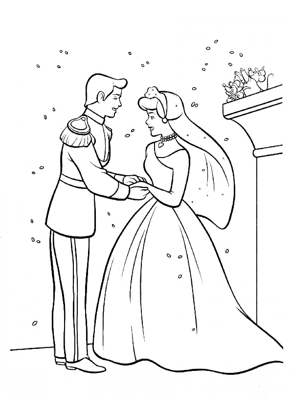 Prince Charming and Cinderella Wedding Coloring Pages