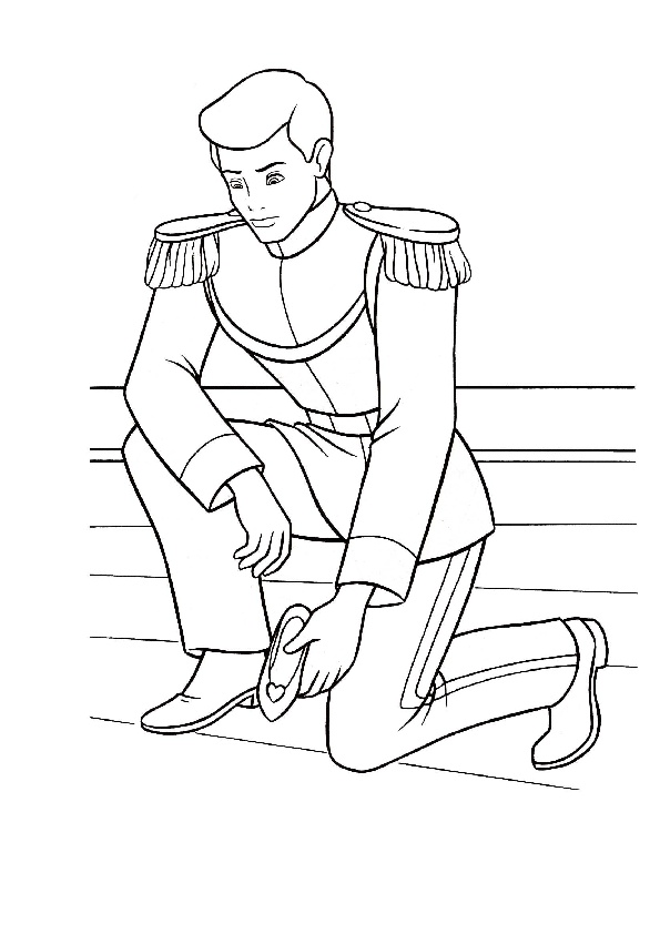 Prince Charming with Her Slippers Cinderella Coloring Pages