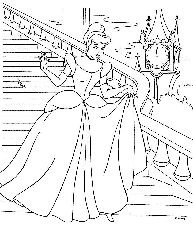 Printable Cinderella Coloring Pages for Kids She is Walking Away from the Castle