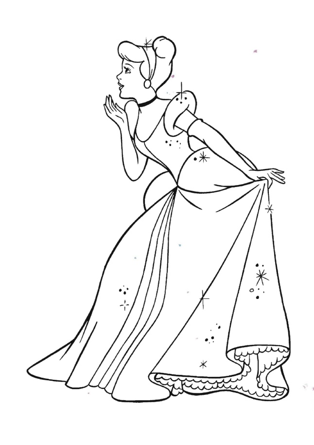 Printable Coloring Pages Cinderella With Her Magical Glittering Princess Gown and Glass Slippers