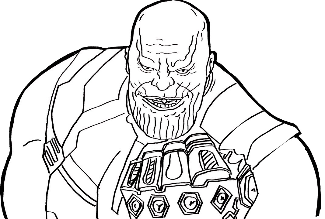 Thanos with Glove Infinity Gauntlet Avengers Coloring Pages