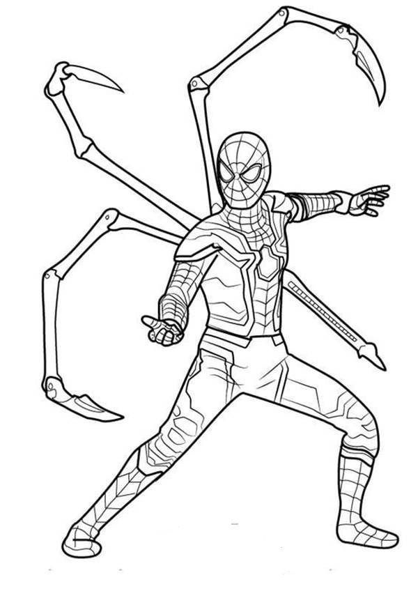 Ultimate Spiderman Fight Avengers Endgame Coloring Pages