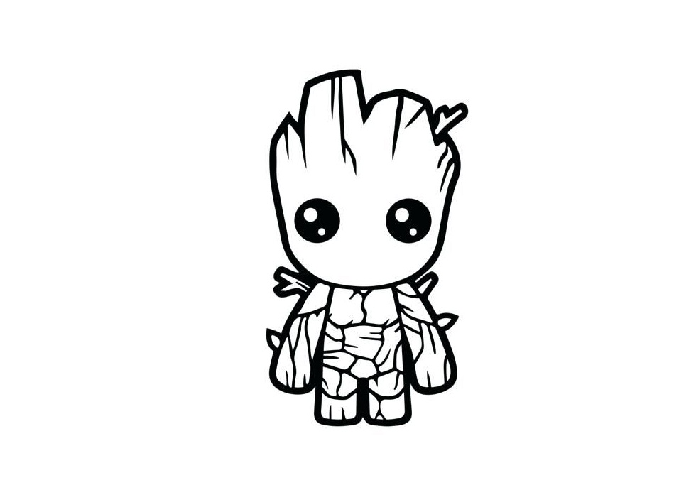 Very Cute Looking Groot Easy Draw and Color Avengers Coloring Pages