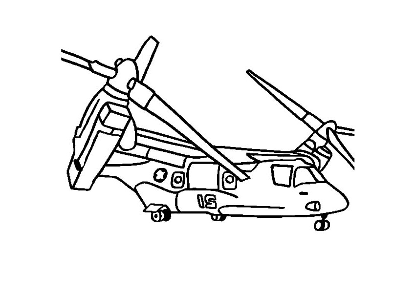 Bell Boeing V-22 Osprey Helicopter Coloring Pages Vertical Takeoff and Landing Short Takeoff Helicopter