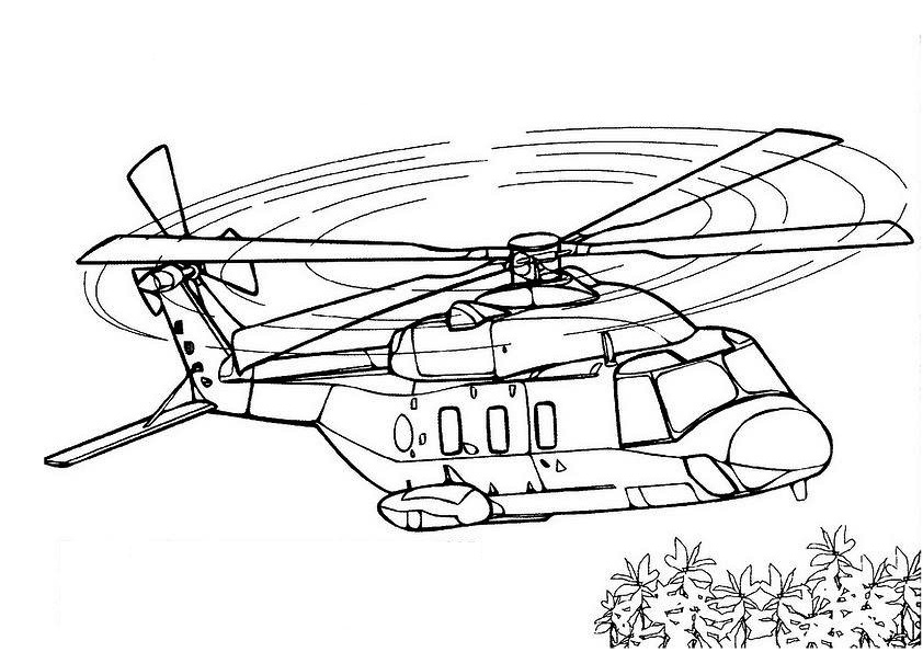 Easy Swat ANd Military Tansport Helicopter Coloring Page Free Print and Color Page
