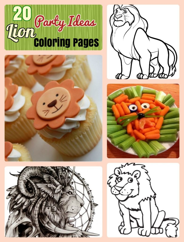 Lion Coloring pages and birthday party ideas