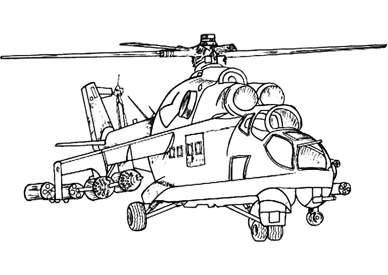 Reconnaissance and Attack Helicopter Coloring Pages
